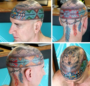 Photo collage of Kai's Lakota Sioux shamanic head tattoo