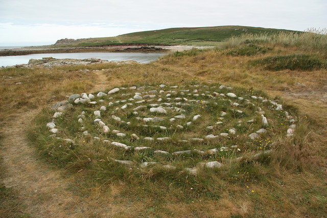 concentric circles of stone in grass