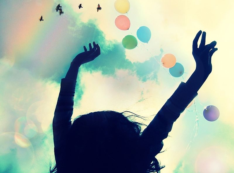 happy girl, rainbow, balloons