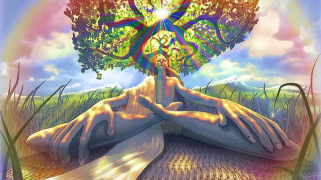 meditating in rainbow light