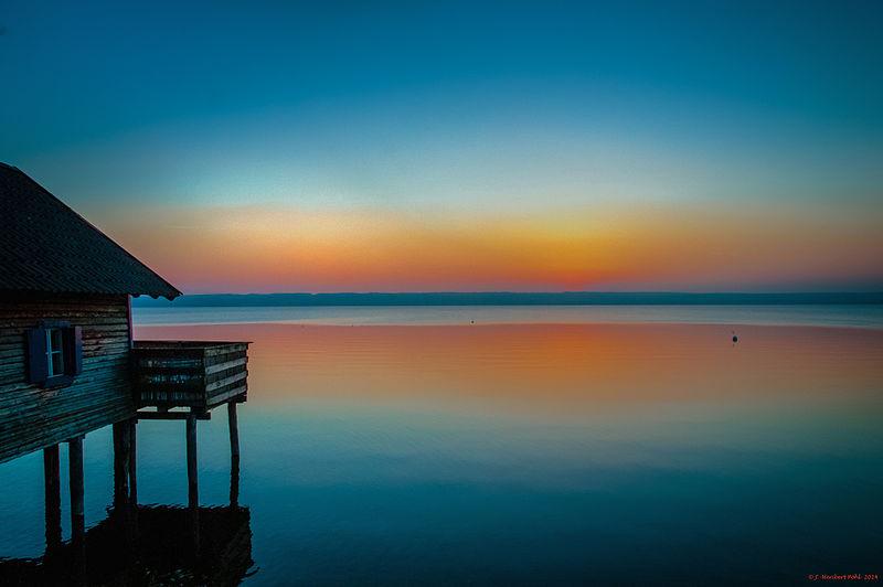 evening light over lake