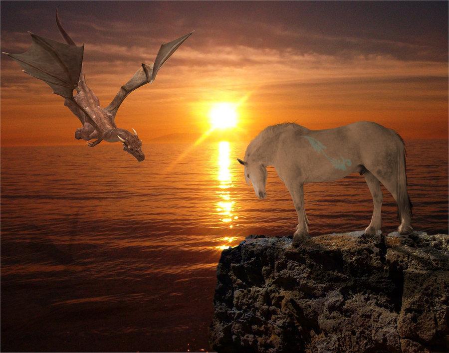 Dragon flying towards a Horse